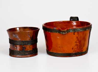 Two Glazed 19th Century Redware Articles with Tin Make-Do Handles, probably PA origin