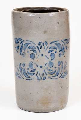 Large-Sized Western PA Stoneware Canning Jar w/ Stenciled Floral Design