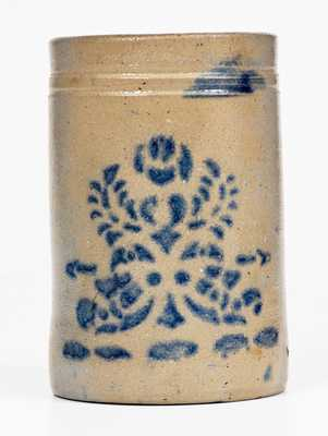Cobalt-Decorated Western PA Stoneware Canning Jar w/ Stenciled Floral Motif, c1875