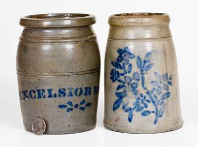 Two Cobalt-Decorated Stoneware Canning Jars, Western PA origin, circa 1875