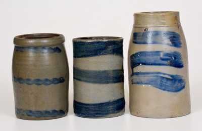Three Stoneware Canning Jars w/ Cobalt Stripe Decoration, Western PA and WV, c1875