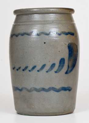 Half-Gallon Stoneware Jar with Freehand Cobalt Decoration, Western PA origin, circa 1875