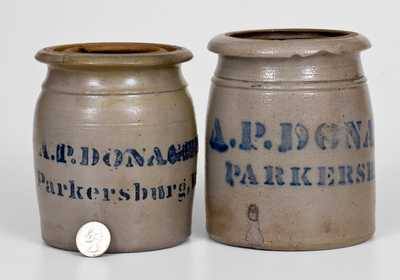 Two Small-Sized A.P. DONAGHHO / PARKERSBURG, W.V. Stoneware Canning Jars