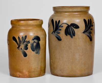 Two Cobalt-Decorated Stoneware Jars, attrib. Remmey Pottery, Philadelphia, PA, c1865