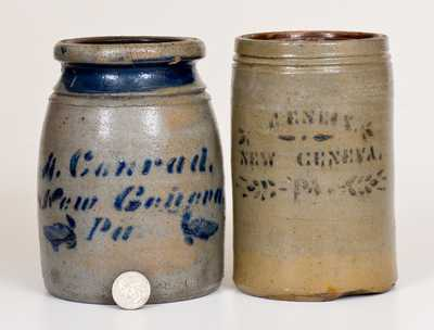 Two New Geneva, PA Cobalt-Decorated Stoneware Canning Jars