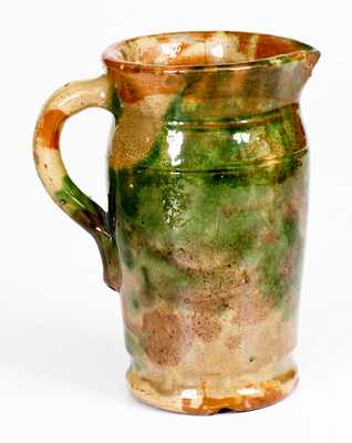 Shenandoah Valley Multi-Glazed Redware Cream Pitcher, Strasburg, VA, c1890