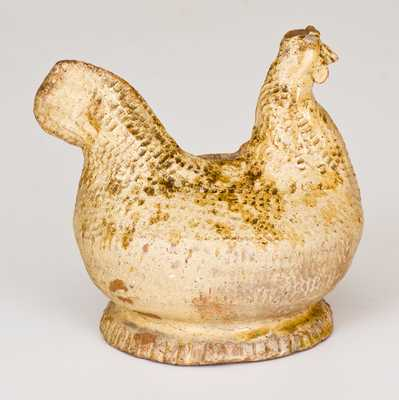 Unusual American Redware Chicken Bank, possibly Virginia origin
