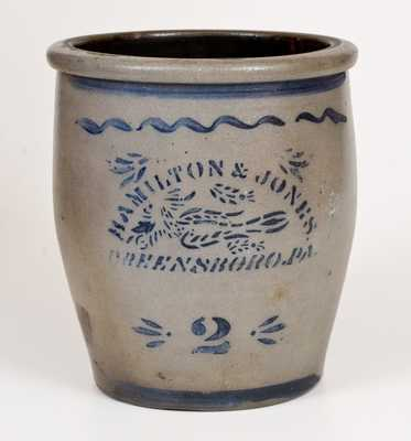 HAMILTON & JONES / GREENSBORO, PA Stoneware Cream Jar w/ Stenciled Bird