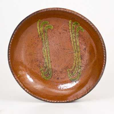 Redware Plate w/ Copper Slip Decoration, Singer Pottery, Haycock Twp, Bucks County, PA