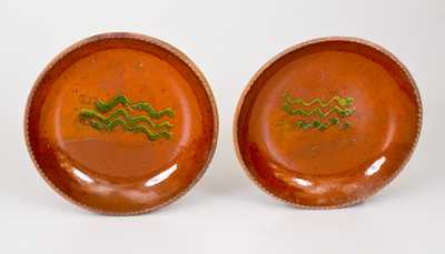 Scarce Pair of Redware Plates w/ Copper Slip Decoration, Singer, Haycock Twp, PA