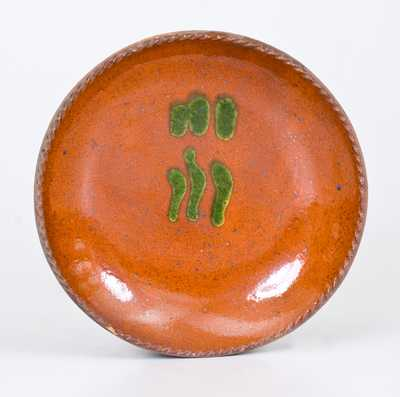 Redware Plate w/ Copper Slip Decoration, Singer, Haycock Township, Bucks County, PA