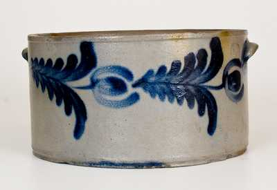 1 1/2 Gal. Stoneware Cake Crock with Floral Decoration, Baltimore, circa 1830s