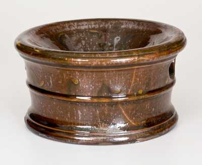 Rare Slip-Decorated Redware Spittoon, Singer, Haycock Township, Bucks County, PA