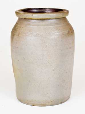 Rare Morgantown, WV Stoneware Jar with Coggled Decoration