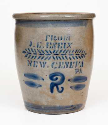 2 Gal. FROM J. E. ENEIX / NEW GENEVA, PA Stoneware Cream Jar
