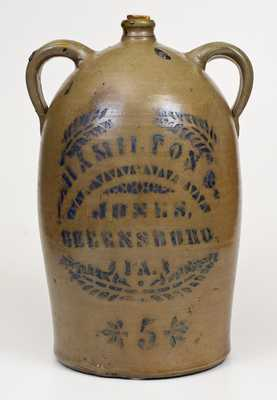 HAMILTON & JONES / GREENSBORO, PA Double-Handled Stoneware Jug