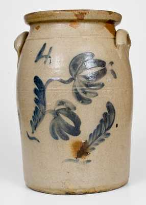 4 Gal. att. Beaver, PA Stoneware Jar with Floral Decoration