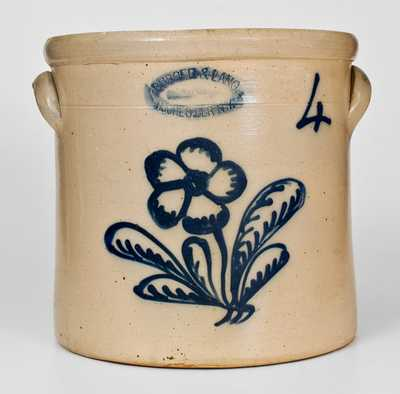 4 Gal. BURGER & LANG / ROCHESTER, NY Stoneware Crock w/ Floral Decoration