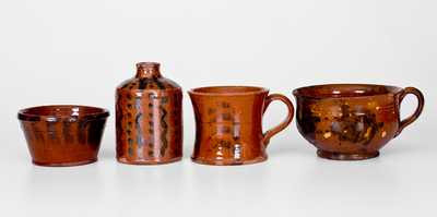 Lot of Four: Small-Sized Redware Vessels with Manganese Decoration