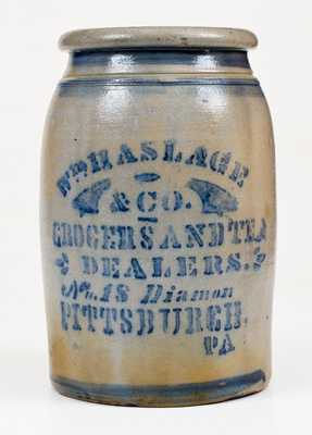 WM. HASLAGE & CO. / PITTSBUGH, PA Western PA Stoneware Advertising Jar