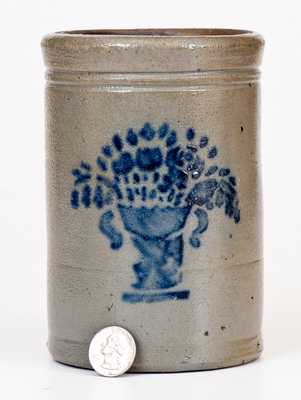 Small-Sized Western PA Stoneware Canning Jar w/ Stenciled Flowering Urn Decoration