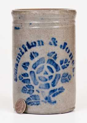 Small-Sized Hamilton & Jones Stoneware Canning Jar w/ Stenciled Rose Decoration