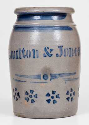 Fine Hamilton & Jones (Greensboro, PA) Stoneware Canning Jar w/ Pinwheel Design