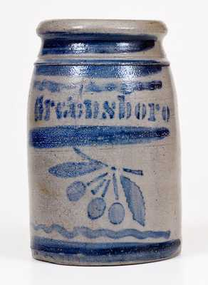 Greensboro, PA Stoneware Stoneware Canning Jar with Stenciled Cherries