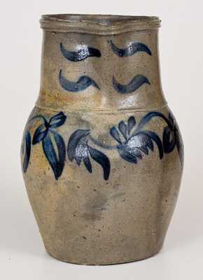 Very Fine Rockingham County, VA Stoneware Pitcher w/ Elaborate Floral Decoration