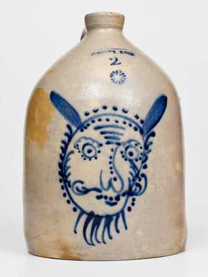 Outstanding CORTLAND, New York Stoneware Jug with Devil Face Decoration
