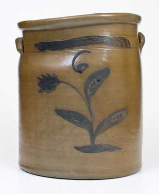 6 Gal. Stoneware Jar with Floral Decoration att. S.A. Colvin, Jane Lew, WV