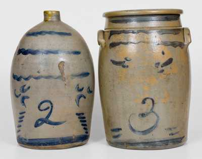 Lot of Two: Western PA Stoneware Jug and Jar with Similar Decorations