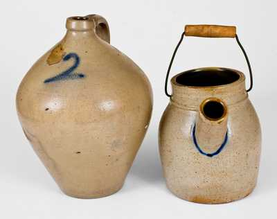 Lot of Two: 2 Gal. Ovoid Stoneware Jug and Stoneware Batter Pail