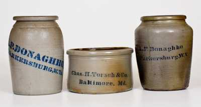 Lot of Three: Chas. H. Torsch / Baltimore Butter Crock, Two A. P. DONAGHHO Jars