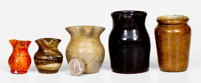 Lot of Five: Small-Sized Stoneware and Redware incl. Jugtown, NC Examples