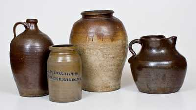 Lot of Four: Utilitarian Stoneware Vessels incl. Southern Examples and A. P. DONAGHHO