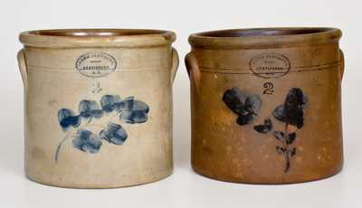 Lot of Two: BROWN BROTHERS / HUNTINGTON, L.I. Two-Gallon Stoneware Crocks