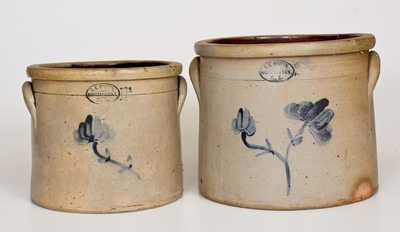 Lot of Two: S. C. BROWN / HUNTINGTON, L.I. Stoneware Crocks w/ Floral Decoration