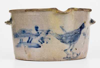 Exceptional James River, VA Stoneware Milkpan w/ Fox and Chicken Scene, probably Schermerhorn