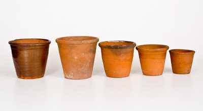 Lot of Five: Redware Flowerpots, Singer Pottery, Haycock Twp, Bucks County, PA