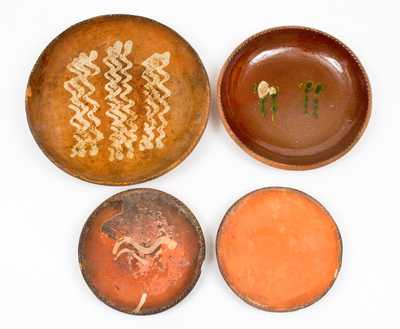 Lot of Four: Redware Plates (Some Unfinished), Singer, Haycock Twp, Bucks County, PA