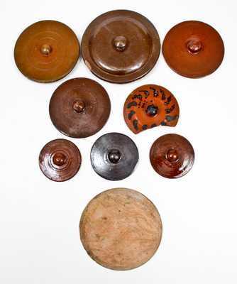 Lot of Nine: 8 Redware Lids and 1 Wooden Plate Mold, Singer, Haycock Township, PA