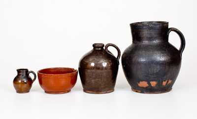 Lot of Four: Glazed Redware Tables Vessels, Singer Pottery, Haycock Township, PA