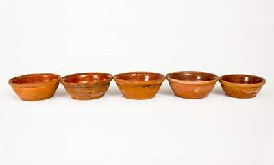 Lot of Five: Redware Bowls (One Inscribed