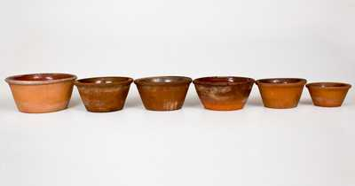 Lot of Six: Redware Bowls, Singer Pottery, Haycock Township, Bucks County, PA