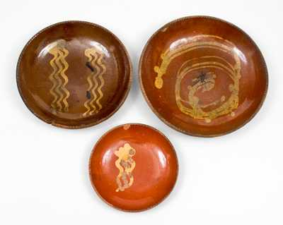 Lot of Three: Decorated Redware Plates, Singer Pottery, Haycock Twp, Bucks County, PA