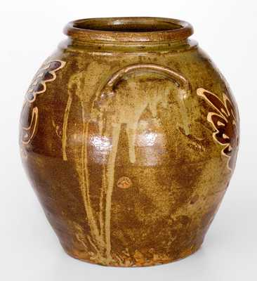 Outstanding attrib. Collin Rhodes, Edgefield District, SC Stoneware Jar w/ Two-Color Slip
