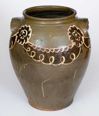 Exceptional Edgefield, SC Stoneware Jar w/ Two-Color Decoration, probably Phoenix Factory