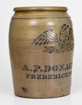 Fine A.P. DONAGHHO, / FREDERICKTOWN, PA Cobalt-Decorated Stoneware Eagle Jar