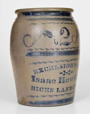 Fine EXCELSIOR WORKS / Isaac Hewitt, Jr. / RICES LANDING, PA Stoneware Jar